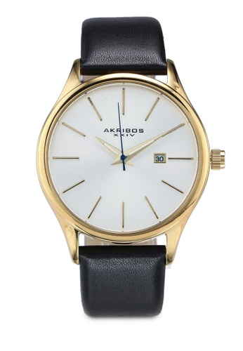 Akribos XXIV black and gold Date Leather Watch 43CEDAC1DC827AGS_1