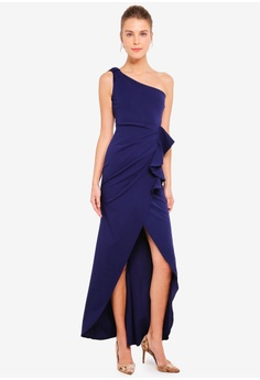 d51b4a73942b98 Goddiva navy One Shoulder Maxi With Frill Pleat Dress 04E77AA6854402GS 1