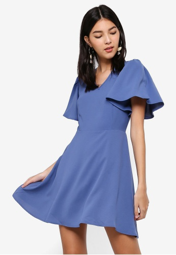 ZALORA blue V-Neck Flare Sleeves Fit And Flare Dress 681B9AA1B48784GS_1