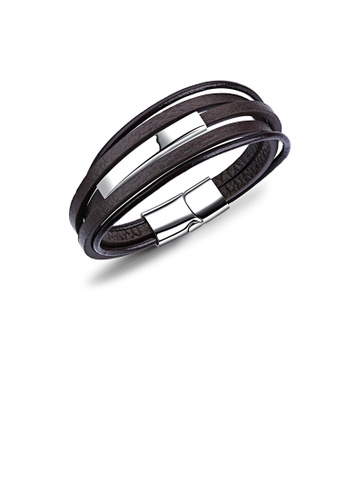 Glamorousky silver Simple Fashion Geometric 316L Stainless Steel Multilayer Brown Leather Bracelet 4D4B5ACBCC3FF9GS_1