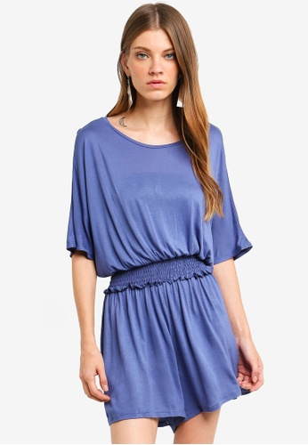 Brave Soul blue Solid Colour Batwing Playsuit With Shirring Detail 5D0B3AADCB2314GS_1