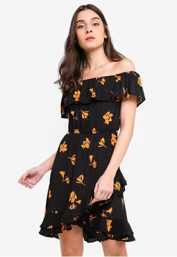 River Island black Long Sleeve Caro Waisted Mini Print Dress AFD06AA6BE17BDGS_1