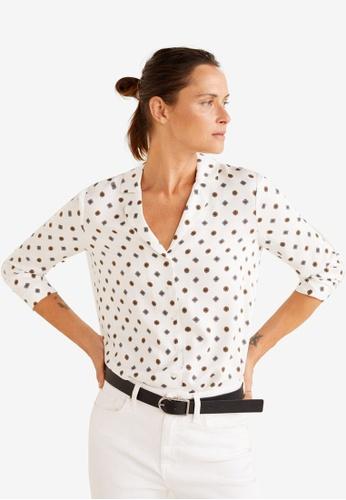 Mango white Satin Print Shirt 14186AAA028966GS_1