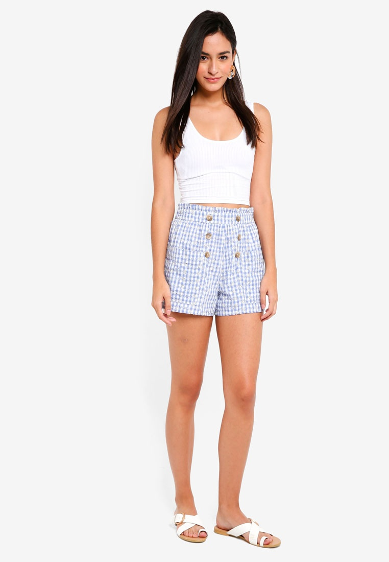 Shorts Blue TOPSHOP Light Gingham Broderie qW118cE