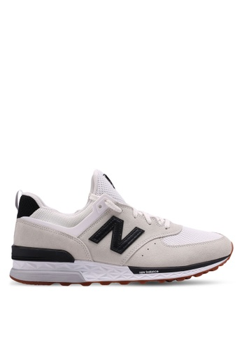 New Balance white 574 Sport Lifestyle Sneakers CE14CSH47690A4GS_1