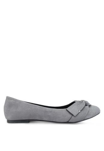 Bata 灰色 麂皮蝴蝶結平底鞋 CDE17SH62CA2CAGS_1
