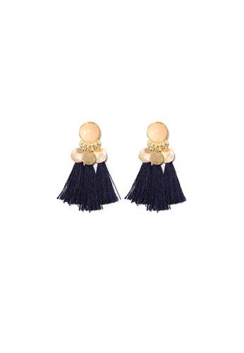 FAWNXFERN gold and navy Ceyan Waterfall Tassels Earrings in Navy 589ECACE7D7960GS_1