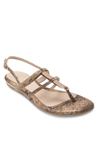 LIesprit台灣官網ZZIE 金飾蛇紋繞踝涼鞋, 女鞋, 涼鞋