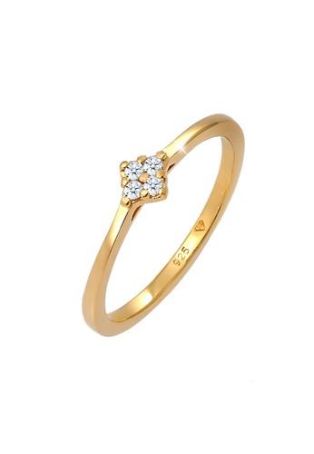 Elli Germany white Perhiasan Wanita Perak Asli - Silver Cincin Engagement Classic Diamond Lapis Emas BDE03ACBAC251FGS_1