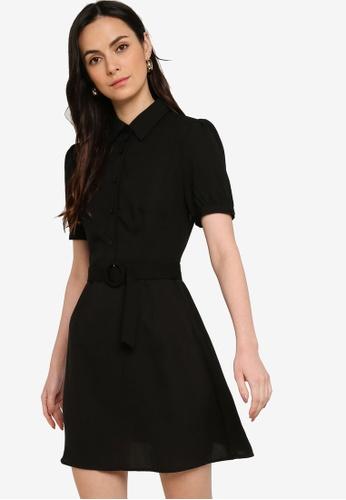 ZALORA WORK black Puff Sleeves Dress With Belt 3883FAAFD98F44GS_1