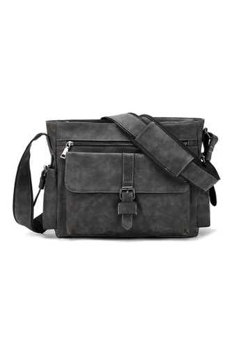 Lara grey Men's Nylon Zipper Messenger Bag - Grey 8293DAC5ADEA4FGS_1