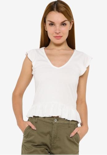 JACQUELINE DE YONG white Ditte Short Sleeve V-Neck Top 4632DAAC22F5DEGS_1