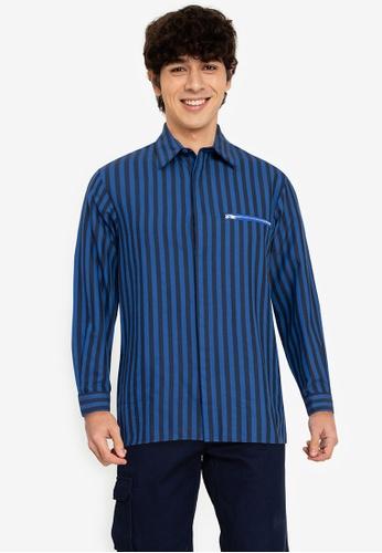ZALORA BASICS multi Stripe Zip Pocket Shirt 65D52AAE357661GS_1