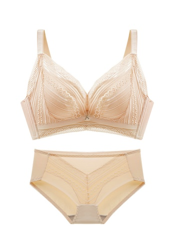 ZITIQUE beige Women's Newest Elegant Sexy Non-wired Push Up Lingerie Set (Bra And Underwear) - Beige 214B1US03E43AAGS_1
