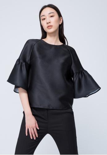 iROO black Glossy Blouse 4C88AAACEDC21CGS_1