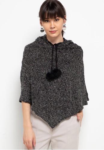 Chic Simple black Metallic Knit Hoodie A1770AAEB6809AGS_1