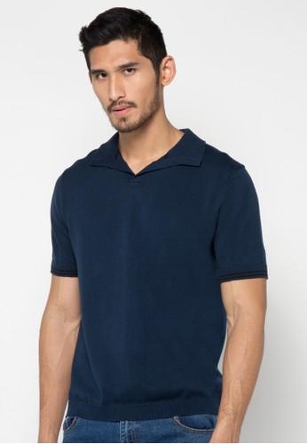 Noir Sur Blanc blue Mens Polo Short Sleeve NO321AA39DEMID_1