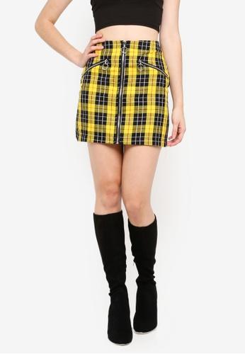 Factorie yellow Zip Front A Line Skirt 5364CAACDA05C2GS_1