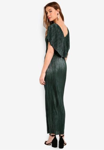 Dorothy Perkins green Green Plisse Cape Maxi Dress 4717DAAC2351A4GS_1