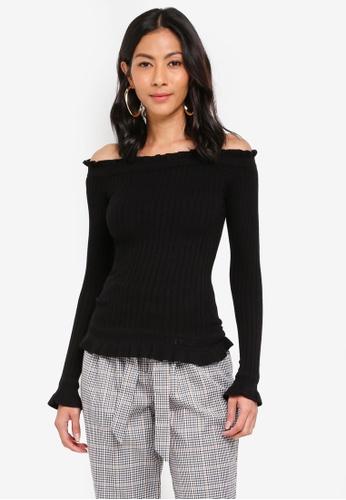 de2c7328202da5 Miss Selfridge black Black Bardot Frill Rib Knitted Top D3289AA92B2821GS 1