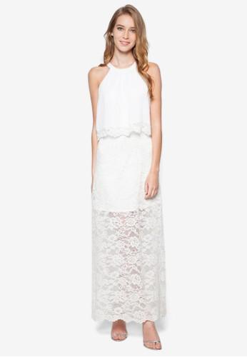 層疊蕾esprit 品牌絲長洋裝, 服飾, 夏日洋裝