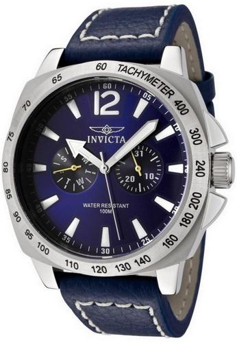 INVICTA blue and silver Invicta Specialty Men 44mm Case Blue Leather Strap Blue Dial Quartz Watch 0854 w/ Yellow Impact Case IN968AC0FQ5GSG_1