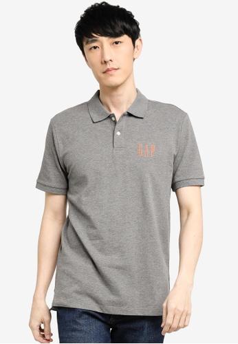 GAP grey Logo Pique Polo Shirt 3B1CAAA7CE3278GS_1