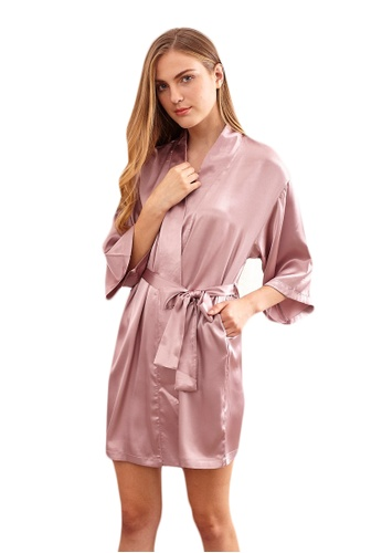 LYCKA purple LCB2150-Lady One Piece Casual Robe Nightwear-Purple B5F85USF3E7E9AGS_1