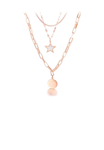 Glamorousky silver Fashion Simple Plated Rose Gold Round 316L Stainless Steel Multi Layer Necklace B9945AC1C2BBB8GS_1