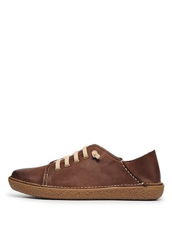 蠟感牛皮。2way後踩。膠底esprit 衣服休閒鞋-04610-咖色, 女鞋, 休閒鞋