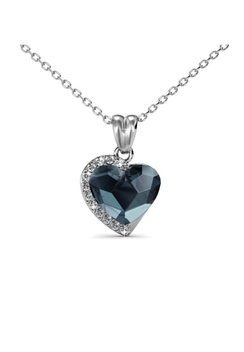 Her Jewellery silver Fond Love Pendant (Blue) - Made with premium grade crystals from Austria HE210AC0GFHNSG_1
