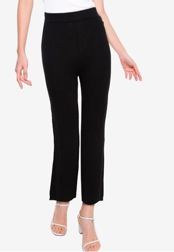 Button On black Relax Rib Knit Long Pants 0A34EAA0B6A177GS_1