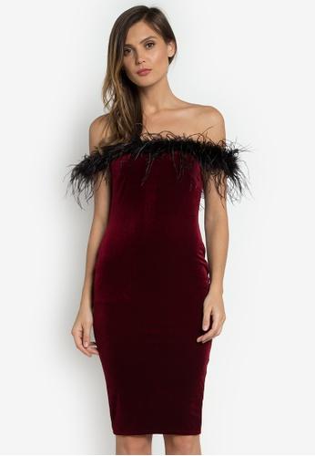NOBASIC red Bodycon Wine Midi Dress CBBB6AACFF2D19GS_1