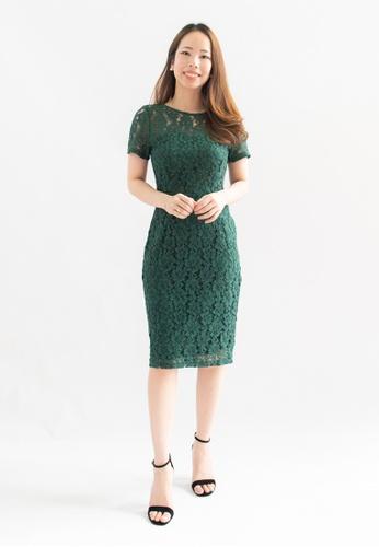 Love Knot green Destiny Lace Overlay Sheath Dress (Green) AFDA2AAE7F1863GS_1