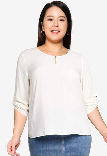 Vero Moda white Plus Size Nads 3/4 Fold-Up Top 30918AA94B4E5EGS_1