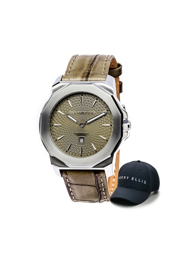 Perry Ellis brown Perry Ellis Decagon Unisex 42mm Quartz Watch 08004-01 with Perry Ellis Cap ADEBFACEF9F378GS_1