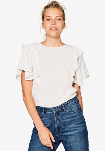 Esprit white Woven Short Sleeve Blouse ES374AA0RNTCMY_1