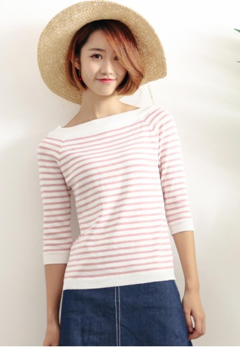 Shopsfashion black and white ​Joline Basic Knitted Blouse in Pink Strip SH656AA29YVMSG_1