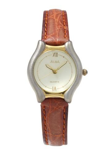 Alba brown ALBA Jam Tangan Wanita - Brown Gold Silver - Leather Strap - ATCX12  1A3C5AC5EF09DFGS_1