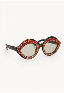 bc5679adddd5 Cat Eye Embellished Sunglasses - Red 52537GL93A53D4GS 1 Pomelo ...