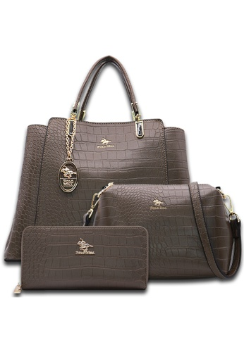 POLO HILL green POLO HILL Scaly Textured Tote Bag 3-in-1 Set 71D9EAC3097228GS_1