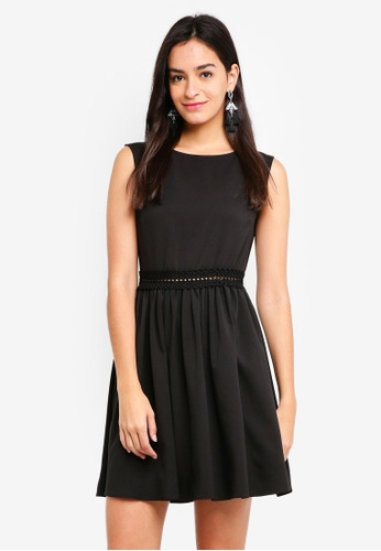 ZALORA black Lace Detail Sleeveless Fit And Flare Dress 93835AAA7DF701GS_1