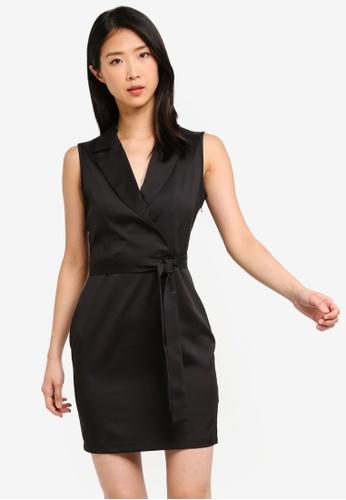ZALORA BASICS black Basic Formal Lapel Dress A26E9AAEBD5BBDGS_1