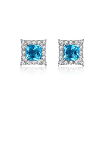 Glamorousky white 925 Sterling Silver Fashion Shining Geometric Square Earrings with Blue Cubic Zirconia 63771AC7D07837GS_1