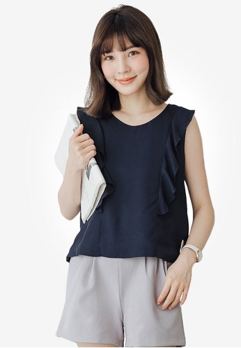 Tokichoi navy Ruffle Sleeveless Top 82D77AAF4ECED8GS_1