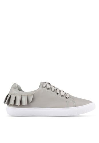 Velvet grey Frill Lace Up Sneakers D06ACSHC9B3AADGS_1