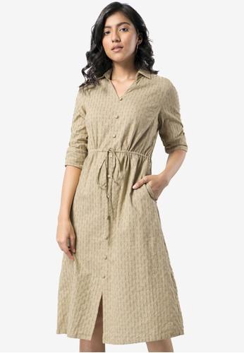 FabAlley beige Buttoned Drawstring Detail Shirt Dress C7F1AAA45B5807GS_1