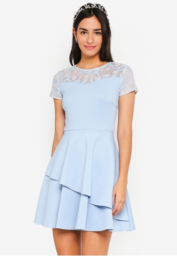 ZALORA blue Bridesmaid Double Layered Fit & Flare Dress 2382EAA4C1403FGS_1