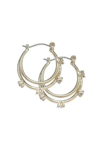 Forever New gold Vicky Diamante Multi Hoop Earrings 62E71AC3F7EDB4GS_1