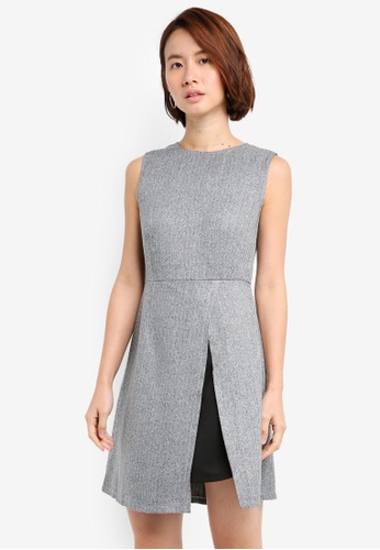ZALORA grey Split Hem A Line Dress 45145AAA851B0AGS_1